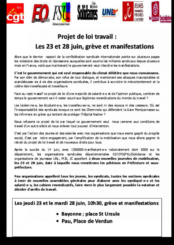 LOI TRAVAIL : TRACT INTERSYNDICAL MANIFS 23 ET 28 JUIN