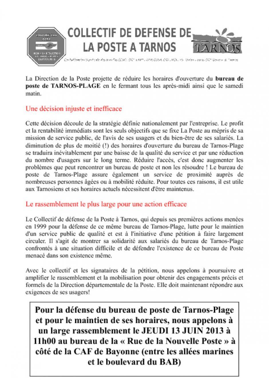 Mobilisation contre la réduction des horaires du bureau de Poste de Tarnos-Plage !