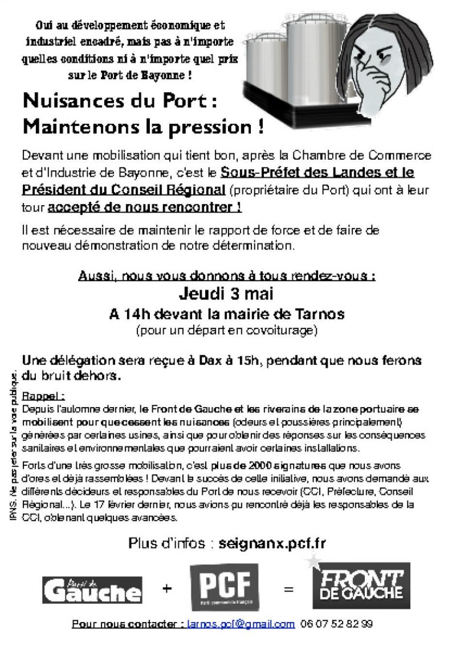 Nuisances du Port : Nous maintenons la pression !
